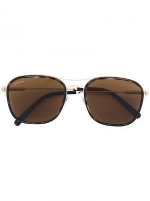 Солнцезащитные очки с квадратной оправой Bvlgari. Цвет: золотистый