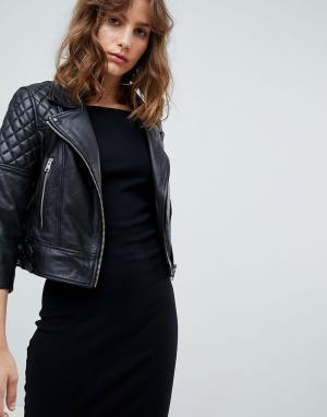 Стеганая кожаная байкерская куртка AllSaints. Цвет: черный