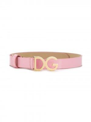 Ремень с логотипом DG Dolce & Gabbana Kids. Цвет: розовый
