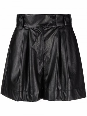Pleated faux-leather shorts Styland. Цвет: черный