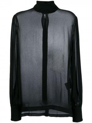 Блузка с высоким воротником 8pm. Цвет: черный