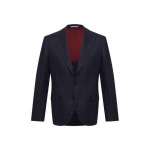 Пиджак из шерсти и шелка Brunello Cucinelli. Цвет: синий