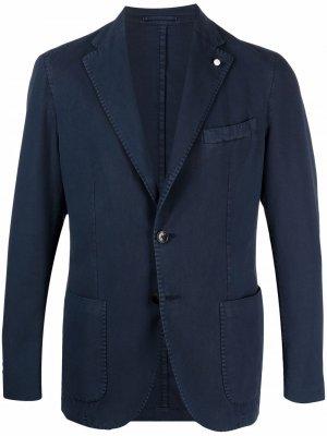 Однобортный пиджак LUIGI BIANCHI MANTOVA. Цвет: синий