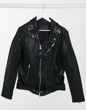 Черная кожаная куртка Rigg-Черный AllSaints