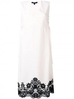 Платье без рукавов с кружевом Derek Lam. Цвет: белый