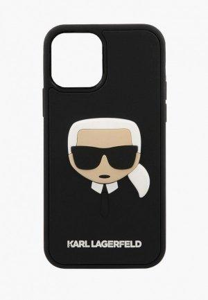 Чехол для iPhone Karl Lagerfeld 12 Pro Max (6.7), 3D Rubber Karls head Black. Цвет: черный