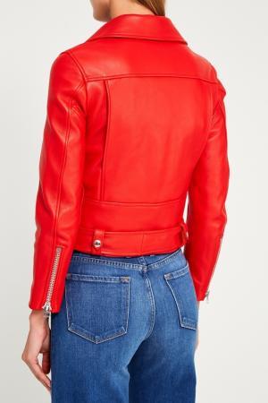 Красная кожаная куртка Mock Acne Studios. Цвет: красный
