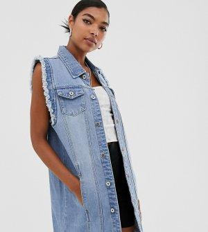 Выбеленная удлиненная джинсовая куртка без рукавов -Синий One Above Another
