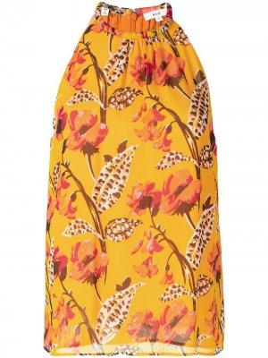 Платье с цветочным принтом и вырезом халтер A.L.C.. Цвет: желтый
