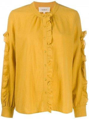 Блузка с оборками и длинными рукавами Ba&Sh. Цвет: желтый