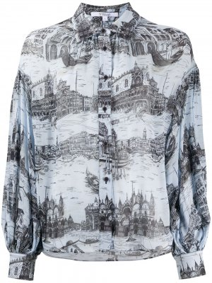 Блузка Lorena с объемными рукавами Derek Lam 10 Crosby. Цвет: синий