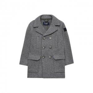 Пальто из хлопка и шерсти Il Gufo. Цвет: серый