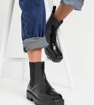 Черные ботинки челси для широкой стопы с эффектом крокодиловой кожи RAID Wide Fit Zinnia-Черный цвет