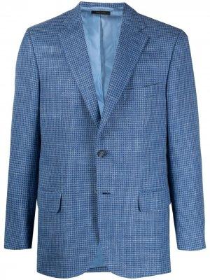 Однобортный пиджак строгого кроя Brioni. Цвет: синий