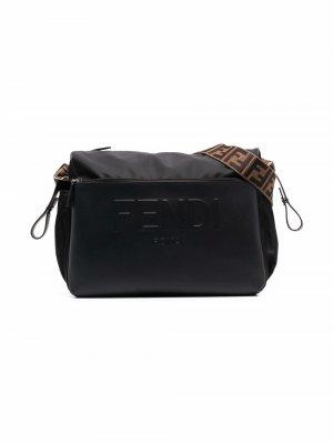 FF-logo print changing bag Fendi Kids. Цвет: черный