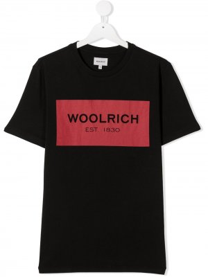 TEEN logo print cotton T-shirt Woolrich Kids. Цвет: черный