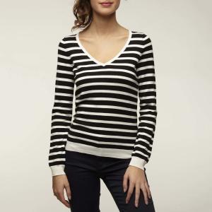 Пуловер с V-образным вырезом из тонкого трикотажа MARIBEST NAF. Цвет: черный/экрю