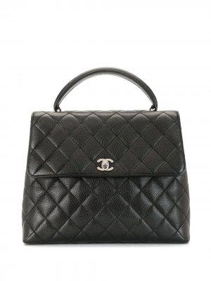 Стеганая сумка-тоут 2001-го года Chanel Pre-Owned. Цвет: черный