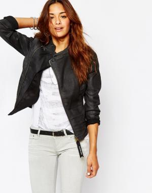 Приталенная джинсовая куртка на молнии G Star Be Raw Lynn-A G-Star. Цвет: черный