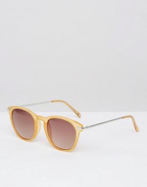 Солнцезащитные очки в круглой оправе карамельного цвета New Look. Цвет: коричневый