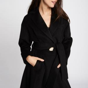 Пальто длинное с застежкой на пуговицы, демисезонная модель MORGAN. Цвет: черный