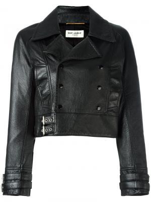 Укороченная кожаная байкерская куртка Saint Laurent. Цвет: чёрный