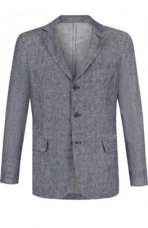 Однобортный льняной пиджак 120% Lino. Цвет: синий