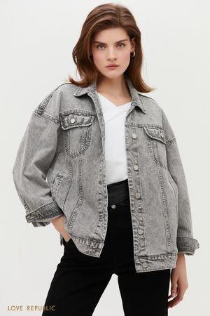 Джинсовая куртка урбанистичного серого оттенка LOVE REPUBLIC