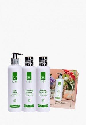 Набор для тела и волос SeaCare органический  СПА №10, лосьон 250 мл + шампунь отшелушивающий гель душа. Цвет: зеленый