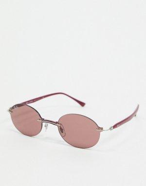 Фиолетовые узкие овальные солнцезащитные очки без оправы Rayban-Фиолетовый Ray-Ban