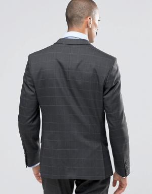 Темно-серый пиджак суперзауженного кроя в клетку Camden Ben Sherman. Цвет: серый