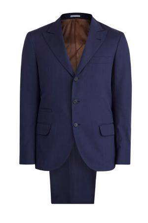 Костюм темно-синего цвета с едва заметным узором в елочку BRUNELLO CUCINELLI. Цвет: синий