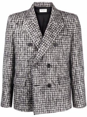 Однобортный пиджак в ломаную клетку Saint Laurent. Цвет: серый
