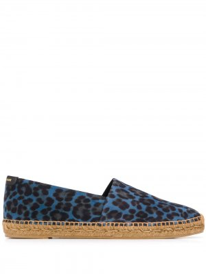 Эспадрильи с леопардовым принтом Saint Laurent. Цвет: синий