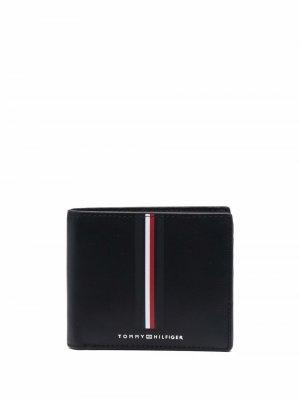 Stripe-print leather wallet Tommy Hilfiger. Цвет: черный