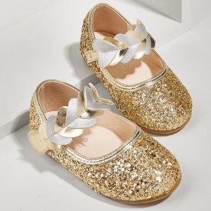 Для девочек Туфли мэри джейн блестящий & с сердечком SHEIN. Цвет: золотистый