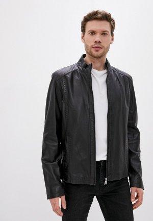 Куртка кожаная Al Franco. Цвет: черный