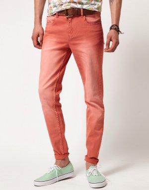 Узкие джинсы -Красный Cheap Monday