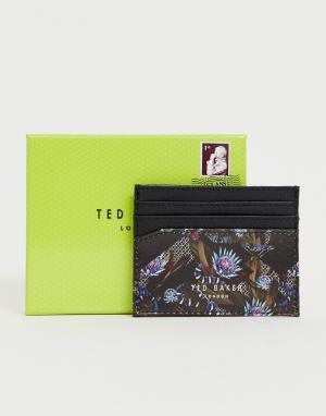 Темно-синяя визитница с принтом Ted Baker. Цвет: темно-синий