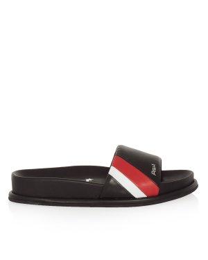 Сланцы TEAM 38 черный+красный+серебристый ASH. Цвет: черный+красный+серебристый