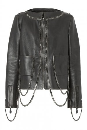 Черная кожаная куртка с отделкой цепями Burberry. Цвет: черный