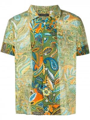 Рубашка с цветочным принтом и вставками Daniele Alessandrini. Цвет: зеленый