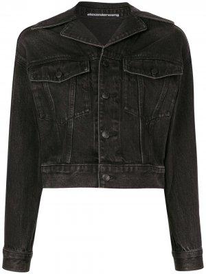 Укороченная джинсовая куртка Alexander Wang. Цвет: черный
