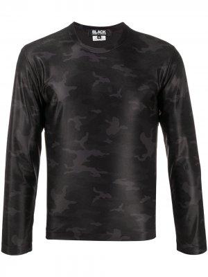 Топ с длинными рукавами и камуфляжным принтом Black Comme Des Garçons. Цвет: черный