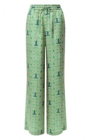 Шелковые брюки Lanvin. Цвет: зелёный