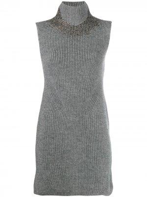 Трикотажное платье без рукавов Ermanno Scervino. Цвет: серый