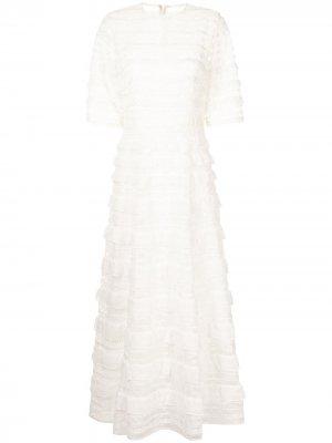Вечернее платье Costarellos. Цвет: белый