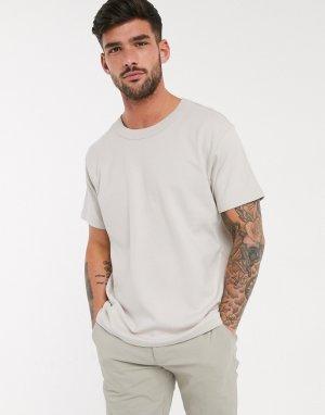 Светло-бежевая свободная футболка Premium-Светло-бежевый Jack & Jones