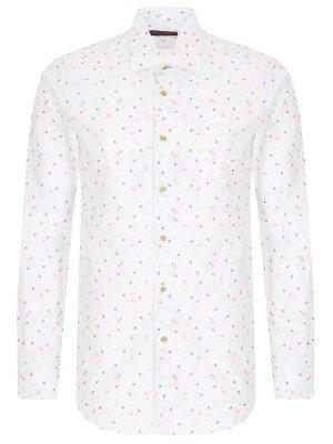 Рубашка Slim Fit с принтом GIOVANI ROSMINI. Цвет: белый