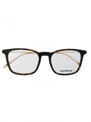Очки в квадратной оправе Montblanc. Цвет: коричневый